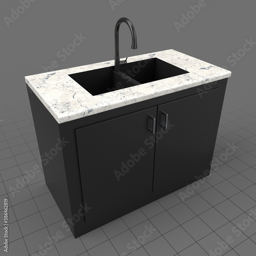 Obraz Modern kitchen sink and cabinets - fototapety do salonu