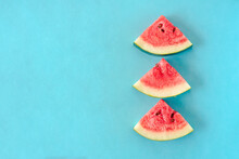 Water Melon Slices On Blue Background. Stock Photo