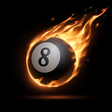 Flaming Billiards Eight Ball On Black Background