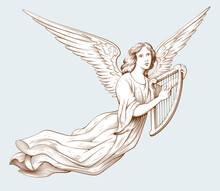 Flying Angel With A Harp. Biblical Illustration In Old Engraving Style