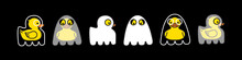 Yellow Duck Ghost. Halloween Cute Spooky Character