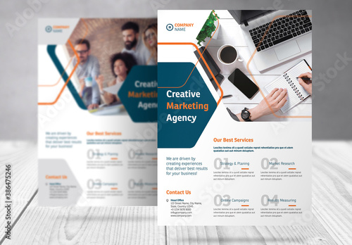 Business Flyer with Blue and Orange  Accents