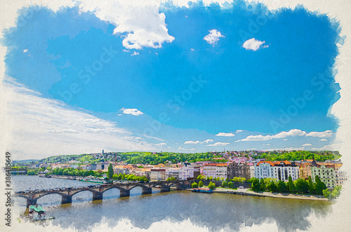 Watercolor drawing of Aerial panoramic view of Prague city, historical center with Smichov district, Palackeho most bridge, row of buildings along Vltava river, Bohemia, Czech Republic