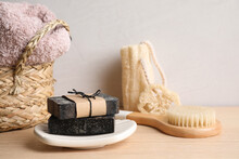Composition With Natural Tar Soap On Wooden Table