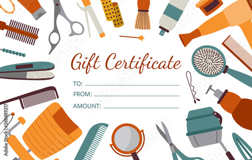 Gift certificate card for visit to hairdresser, flat cartoon vector illustration