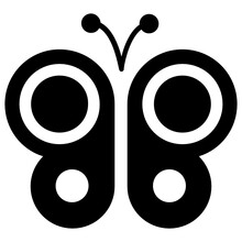 Insect With Decorative Feathers And Antenna, Icon For Butterfly
