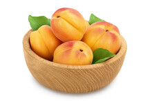 Apricot Fruit In Wooden Bowl Isolated On White Background. Clipping Path And Full Depth Of Field