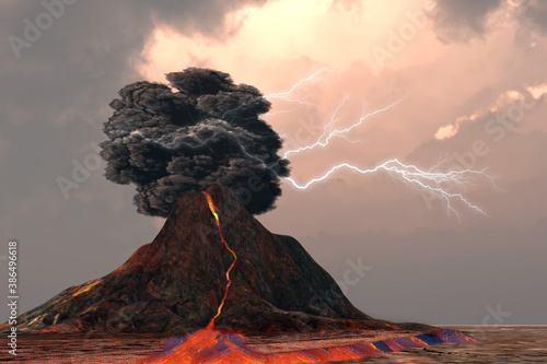 Fotomural Volcano and Lightning - Lightning and thunder crack inside a billowing smoke plume as a volcano erupts with glowing lava