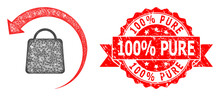 Textured 100% Pure Seal And Network Refund Shopping Icon