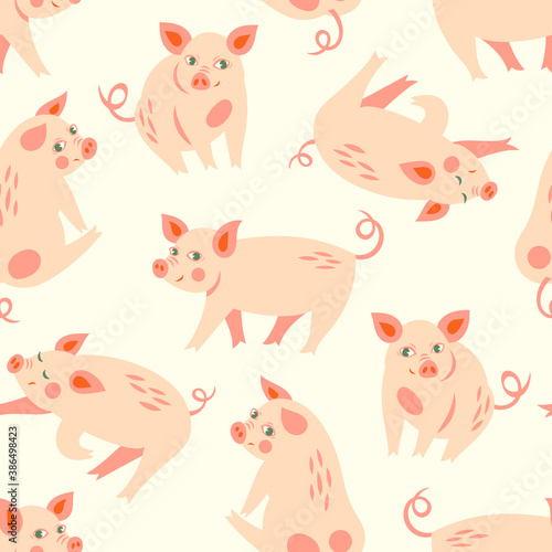 Fototapeta Vector seamless pattern with cute pink piggy for Chinese New Year  obraz