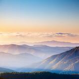 Vivid mountain range with visible silhouettes. Location place Carpathian mountains, Ukraine. - 386502652