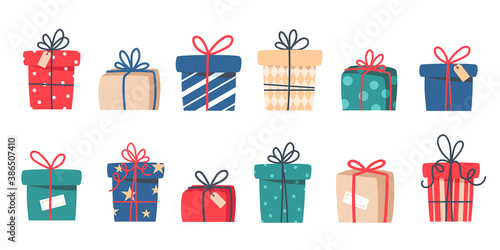 Obraz Set of Christmas gifts, New Year presents, gift boxes with ribbons, vector illustration in flat style - fototapety do salonu