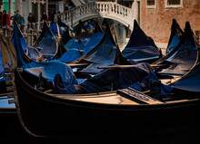Venice, Gondola View On A Gold...