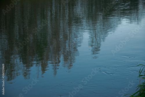 Obraz na płótnie reflection in water - streams and whirlpools