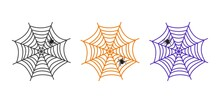 Halloween Vector Cobweb And Spider. Colorful Spider Web Set, Creepy Elements For Holiday Decoration. Hand Drawn Net. Horror Illustration