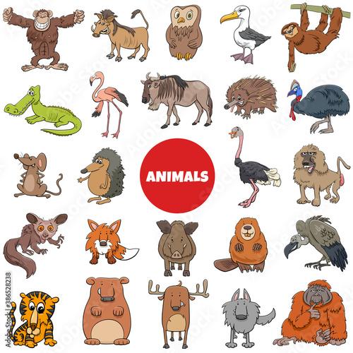 Naklejka premium cartoon wild animal characters big set