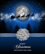 Merry Christmas Poster. Santa Claus Sleigh Flying On The Sky In Front Of The Full Moon And Silver Bow With Ribbon