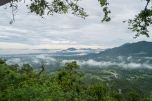 Landscape Lot Of Fog Phu Thok Mountain At Chiang Khan Loei Province In Thailand.