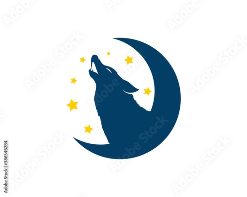 Naklejka premium Half moon with howling wolf and star