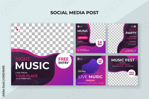 Foto Night music social media post template