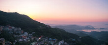 A Landscape Panorama View Of Ocean And Mountain With The Beautiful Sky. T