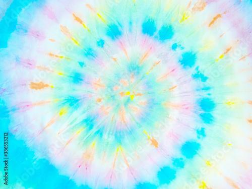 Obraz Spiral tie dye wallpaper. Hippie tie-dye background. Tiedye backdrop. Psychedelic tie dye pattern in window snow burst blue white.  - fototapety do salonu
