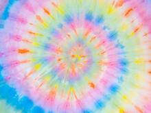 Rainbow Spiral Tie Dye Background Pattern. Swirl Hippie Tiedye Wallpaper. Boho Festive Tie-dye Backdrop.