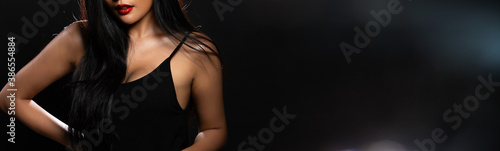 Obraz Portrait half body of 20 Asian Woman in High Fashion black vast style - fototapety do salonu