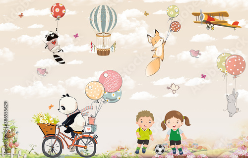 Obraz Children's wallpaper. Animals on balloons in the sky. Panda on a bike. Kids are playing football.     - fototapety do salonu