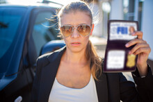 Special Federal Intelligence Agent Woman In Black Suit