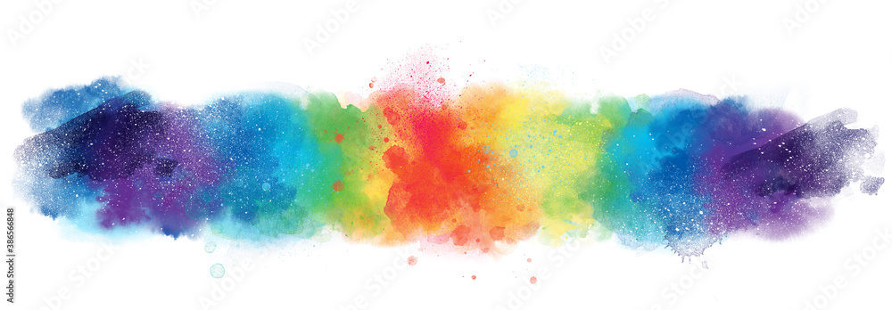 Fototapeta Rainbow artistic watercolor background banner with watercolor texture and splash