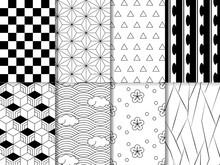 和柄パターン8種類 白黒