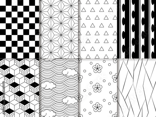 Tela 和柄パターン8種類 白黒