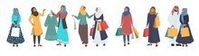 Muslim People Shopping, Male And Female Cartoon Character Set, Flat Vector Isolated Illustration. Happy Arab Girls Wearing Traditional Arabic Dress And Hijab With Shopping Bags. Hijab Women Fashion.