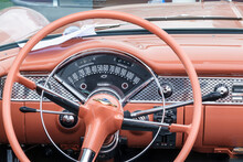 Steering Wheel And Speedometer In An Old Chevrolet, Bel Air