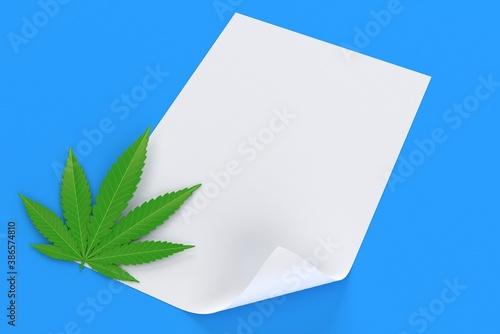 Fototapeta Cannabis leaf with blank sheet of paper obraz na płótnie