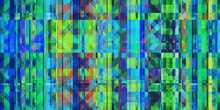 Blue Green Checkered Rhombuses Colorful Noise Background. Glitch Art Backdrop. Distorted Geometric Surface. Abstract Grunge Pattern. Distortion Screen Texture.