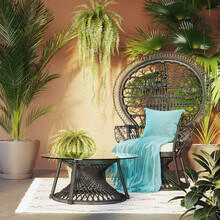 3d Boho Interior Room With A Peacock Lounge Chair Many Plants, Ferns And Exotic Palms On Dark Orange Wall