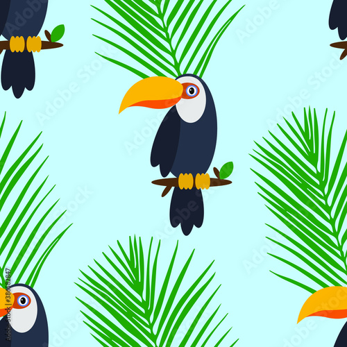 Naklejka premium Seamless pattern of parrot on blue background
