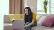 Excited chinese beautiful woman calling online friend via laptop congratulating birthday sharing love talking communicating from home. Self-isolation. Distant relationships. Quarantine.