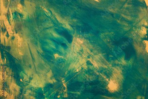 Obraz Zielono-żółte abstrakcyjne tło namalowane farbami olejnymi. - fototapety do salonu