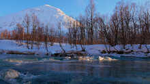 Partly Frozen River In Afterno...