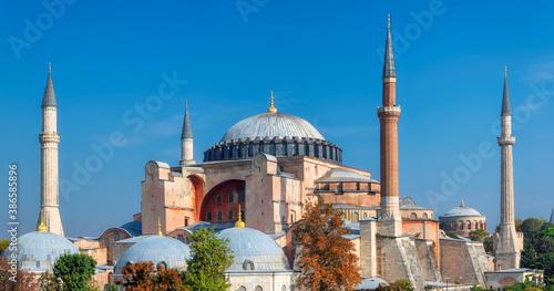 Fototapeta Panoramic view of Hagia Sophia in Istanbul