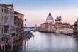 Grand Canal in Venice, with Santa Maria della Salute Basilica in the background.