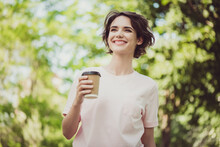 Photo Of Nice Pretty Adorable Young Lady Beaming Smile Look Side Hold Paper Cup Coffee Tea Spend Free Time Enjoy Sunny Day Weather Positive Thinking Concept Wear Pink T-shirt Park Outdoors