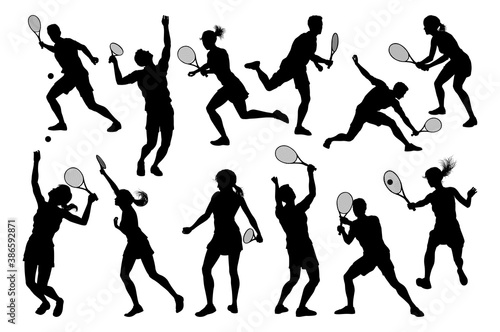 Foto A set of tennis player man and woman silhouette sports people design elements
