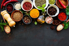 Various Spices In A Bowls On A...