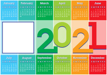 2021 Calendar With Vertical Coloured Stripes And Square Photo Frame