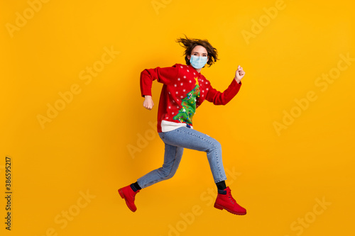 Fotografie, Obraz Full size profile side photo of girl jump run wear mask christmas tree sweater p