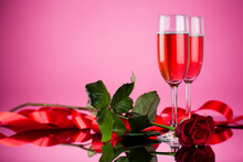 Studio Photo Of Pink Champagne...